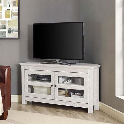 View a large image of the Walker Edison 48 inch Corner TV Console White Wash WQ44CCRWW here.