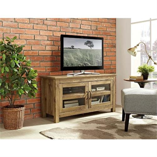 View a large image of the Walker Edison Wood 48 inch TV Console Barnwood WQ44CFDBW here.