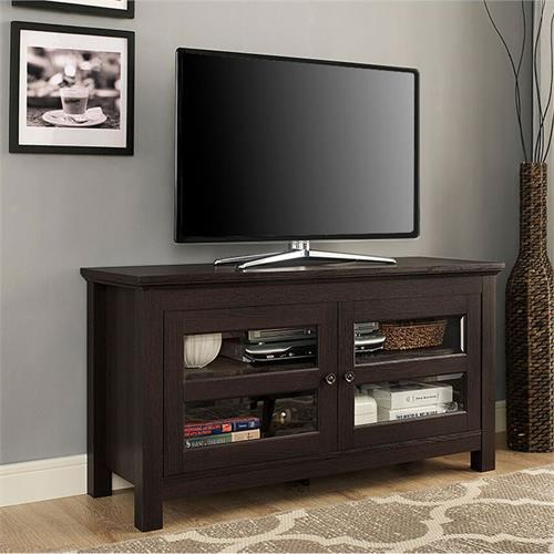 View a large image of the Walker Edison 44 inch Full Door Wood TV Console Espresso WQ44CFDES here.