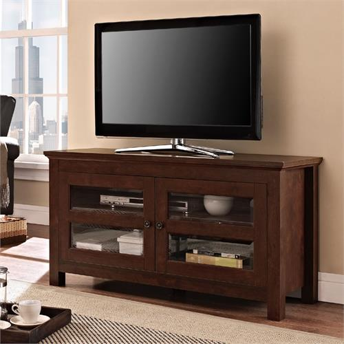 View a larger image of the Walker 44 inch Full Door Wood TV Console (Traditional Brown) WQ44CFDTB.