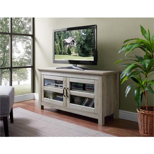 View a large image of the Walker Edison Wood 48 inch TV Console White Oak WQ44CFDWO here.