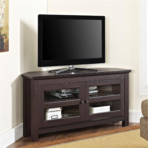 View a large image of the Walker Edison Coronado 48 inch Corner TV Stand Espresso WQ44CCRES here.