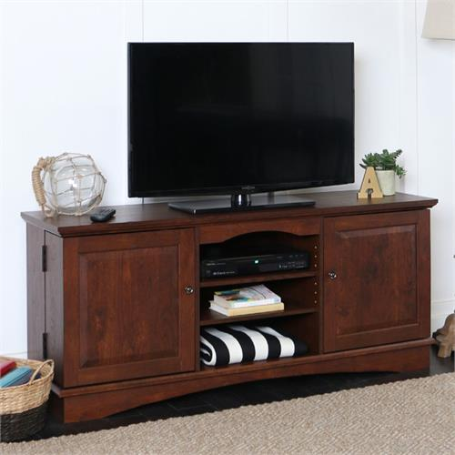 View a large image of the Walker Edison 65 inch TV Console with Media Storage Traditional Brown WQ60C73TB here.
