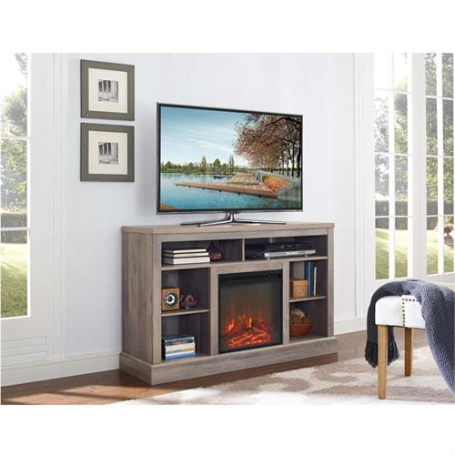 View a larger image of Walker Edison Highboy TV Stand with Fireplace Insert (Grey) W52FP18WSGW.