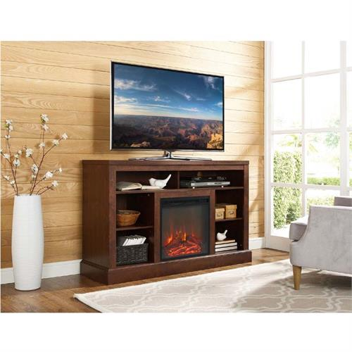 View a large image of the Walker Edison Highboy TV Stand with Fireplace Insert Brown W52FP18WSTB here.