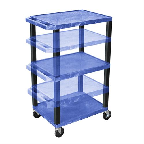 View a large image of the Luxor WT1642BU-B Blue 3 Shelf Multi Height Cart here.