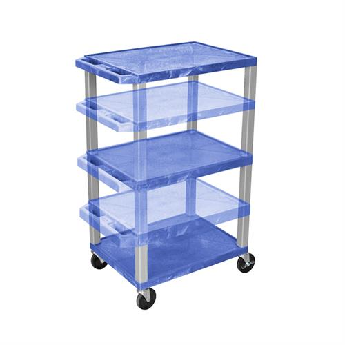 View a large image of the Luxor WT1642BU-N Blue 3 Shelf Multi Height Cart here.