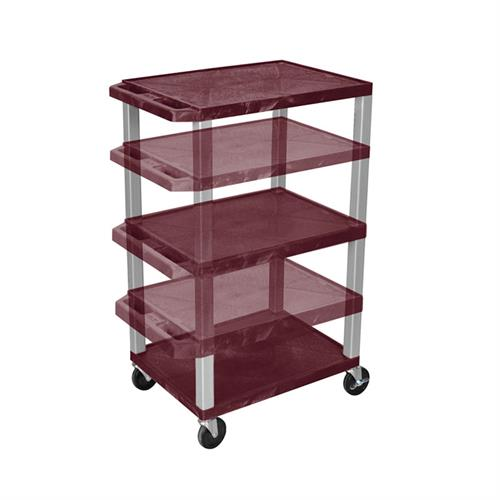 View a large image of the Luxor WT1642BY-N Burgundy 3 Shelf Multi Height Cart here.