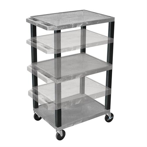 View a large image of the Luxor WT1642GYE-B Gray 3 Shelf Multi Height Cart with Electric here.