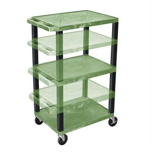 View a large image of the Luxor WT1642GE-B Green 3 Shelf Multi Height Cart with Electric here.