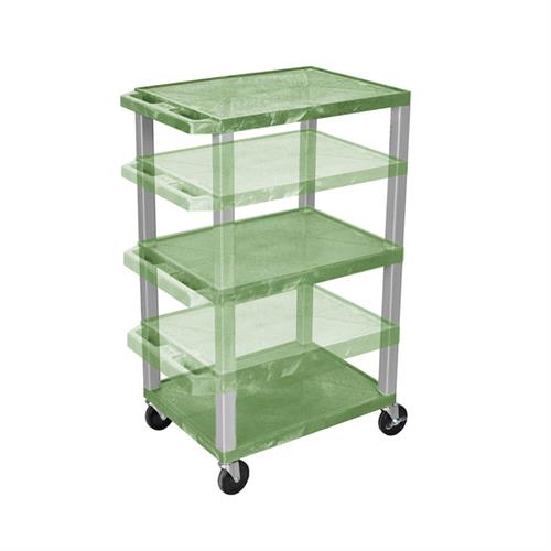 View a large image of the Luxor WT1642G-N Green 3 Shelf Multi Height Cart here.