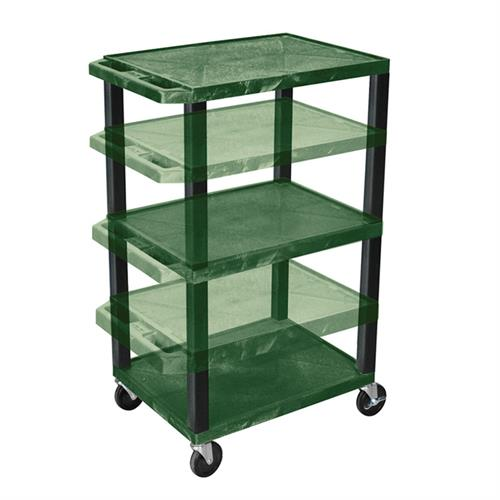 View a large image of the Luxor WT1642HG-B Hunter Green 3 Shelf Multi Height Cart here.