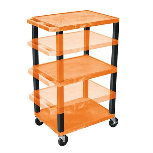 View a large image of the Luxor WT1642OR-B Orange 3 Shelf Multi Height Cart here.
