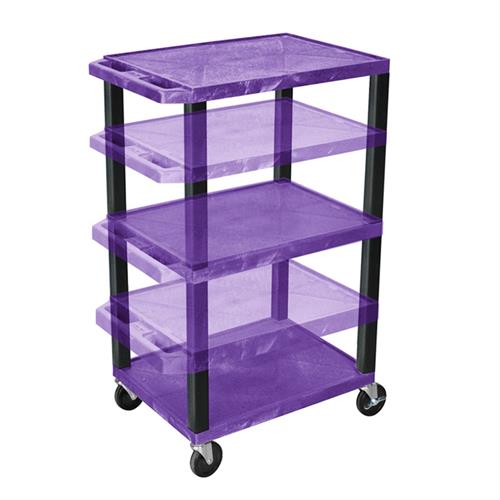 View a large image of the Luxor WT1642PE-B Purple 3 Shelf Multi Height Cart with Electric here.