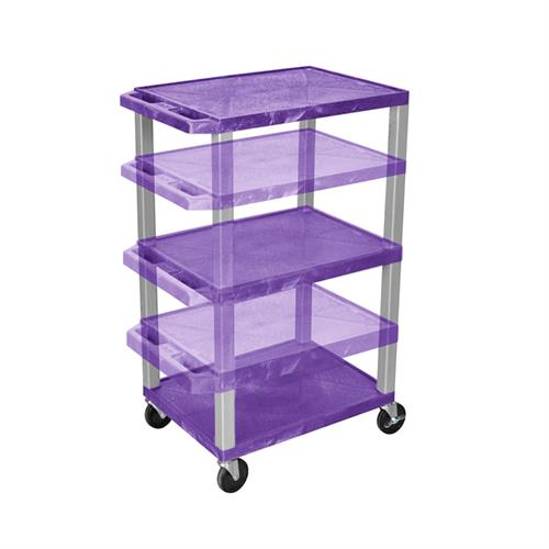 View a large image of the Luxor WT1642PE-N Purple 3 Shelf Multi Height Cart with Electric here.