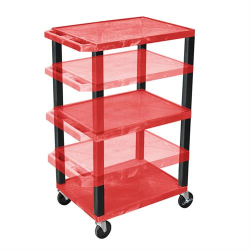View a large image of the Luxor WT1642RE-B Red 3 Shelf Multi Height Cart with Electric here.