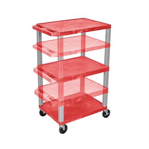 View a large image of the Luxor WT1642RE-N Red 3 Shelf Multi Height Cart with Electric here.