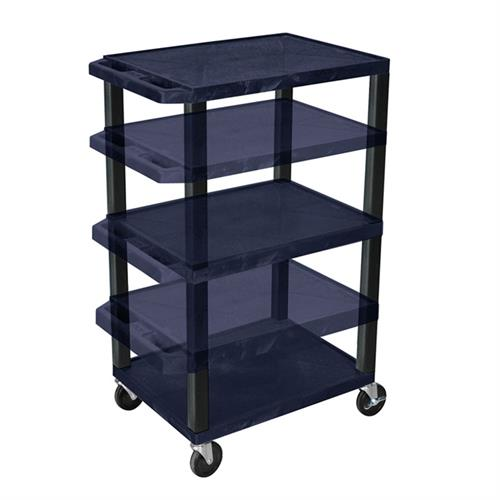 View a large image of the Luxor WT1642ZE-B Navy Blue 3 Shelf Multi Height Cart with Electric here.