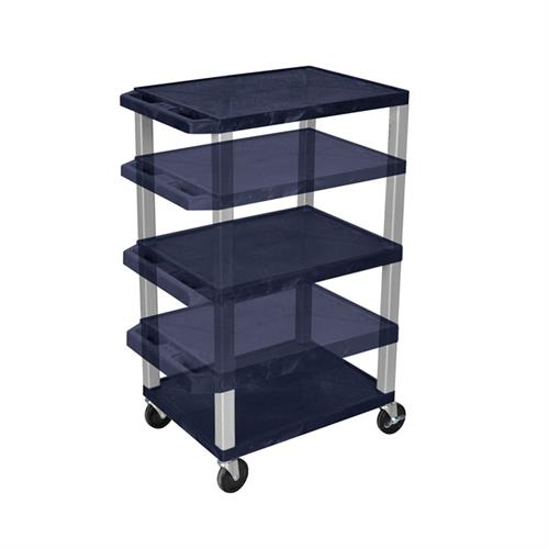 View a large image of the Luxor WT1642ZE-N Navy Blue 3 Shelf Multi Height Cart with Electric here.