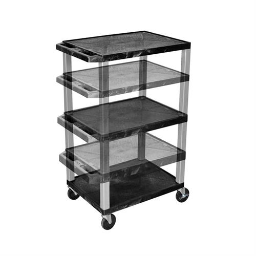 View a larger image of the Luxor WT1642E-N Black 3 Shelf Multi Height Cart with Electric.