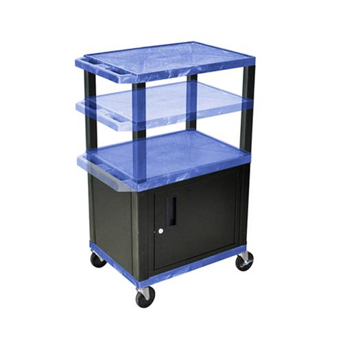View a large image of the Luxor WT2642BUC2-B Blue 3 Shelf Multi Height Cart with Cabinet here.