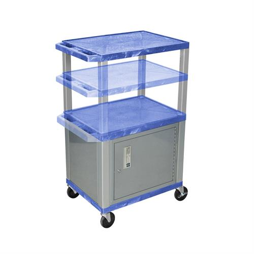 View a large image of the Luxor WT2642BUC4-N Blue 3 Shelf Multi Height Cart with Cabinet here.