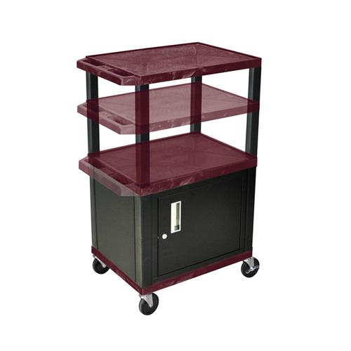 View a large image of the Luxor WT2642BYC2E-B Burgundy 3 Shelf Multi Height Cart with Cabinet & Electric here.