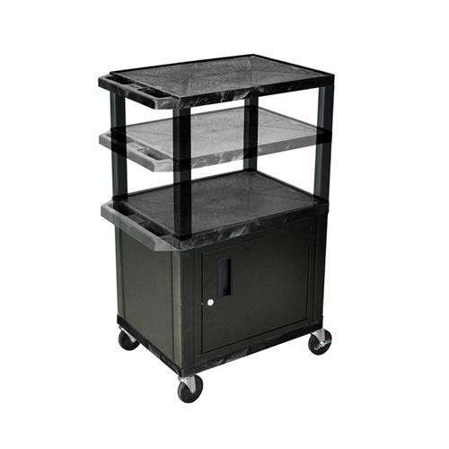 View a larger image of the Luxor WT2642C2E-B Black 3 Shelf Multi Height Cart with Cabinet & Electric.