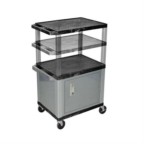 View a large image of the Luxor WT2642C4E-N Black 3 Shelf Multi Height Cart with Cabinet & Electric here.