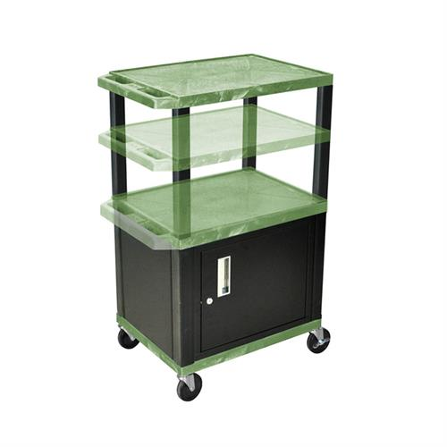 View a large image of the Luxor WT2642GC2E-B Green 3 Shelf Multi Height Cart with Cabinet & Electric here.