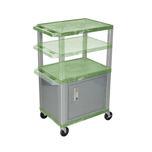 View a large image of the Luxor WT2642GC4-N Green 3 Shelf Multi Height Cart with Cabinet here.