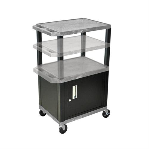 View a large image of the Luxor WT2642GYC2E-B Gray 3 Shelf Multi Height Cart with Cabinet & Electric here.