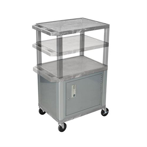 View a large image of the Luxor WT2642GYC4E-N Gray 3 Shelf Multi Height Cart with Cabinet & Electric here.
