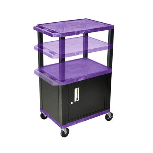 View a large image of the Luxor WT2642PC2E-B Purple 3 Shelf Multi Height Cart with Cabinet & Electric here.