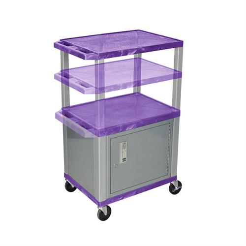 View a large image of the Luxor WT2642PC4E-N Purple 3 Shelf Multi Height Cart with Cabinet & Electric here.