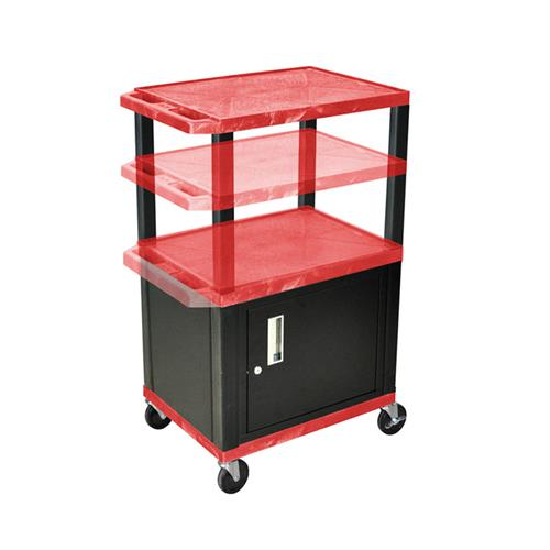 View a large image of the Luxor WT2642RC2E-B Red 3 Shelf Multi Height Cart with Cabinet & Electric here.