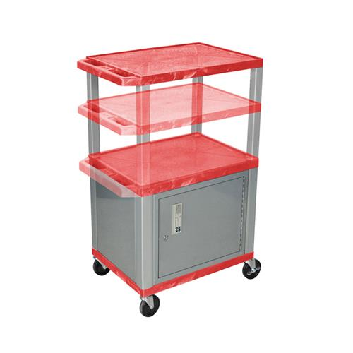 View a large image of the Luxor WT2642RC4E-N Red 3 Shelf Multi Height Cart with Cabinet & Electric here.