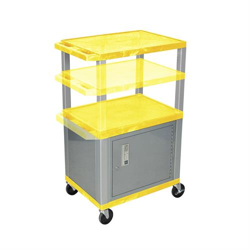 View a large image of the Luxor WT2642YC4E-N Yellow 3 Shelf Multi Height Cart with Cabinet & Electric here.