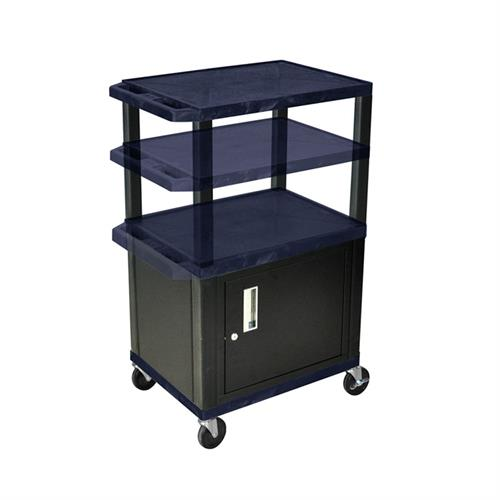 View a large image of the Luxor WT2642ZC2-B Navy Blue 3 Shelf Multi Height Cart with Cabinet here.