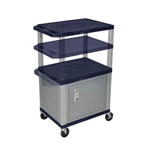View a large image of the Luxor WT2642ZC4E-N Navy Blue 3 Shelf Multi Height Cart with Cabinet & Electric here.