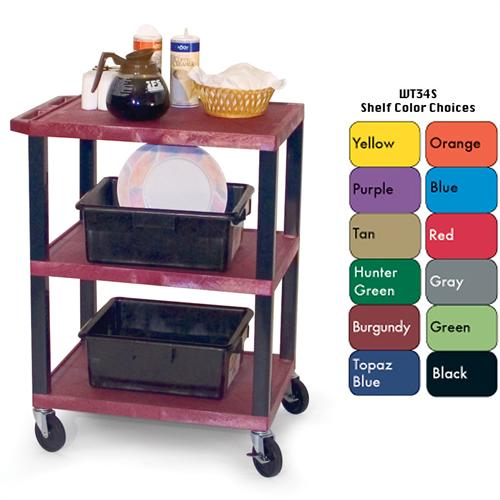 View a large image of the H. Wilson 3-Shelf Mobile Tuffy Busing Cart Various Colors WT34S here.