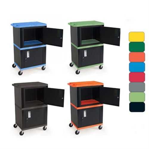 View a large image of the H. Wilson Mobile Tuffy Cart with Two Lockable Cabinets Various Colors WT50 here.