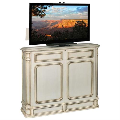 View a large image of the TV Lift Cabinet Crystal Pointe 360 Swivel Lift for 32 to 46 inch Screens Weathered White AT004471SWIVWW here.