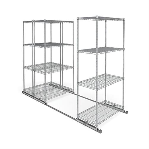 View a large image of the OFM X5L3-3618-SLVR X5 Lite Sliding Storage System Three 4-Shelf Units 36x18 here.