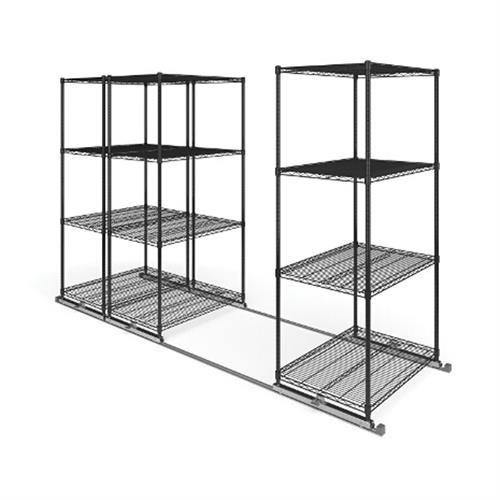 View a larger image of the OFM X5 Lite Sliding Storage System with Tracks (Three 4-Shelf Units) (36x24) X5L3-3624-BLK.