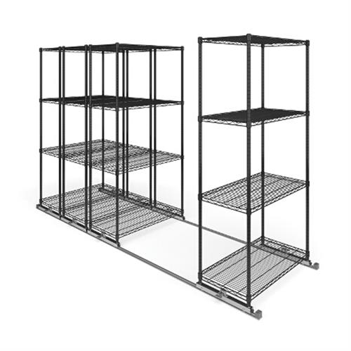 View a large image of the OFM X5L4-3618-BLK X5 Lite Sliding Storage System Four 4-Shelf Units 36x18 here.