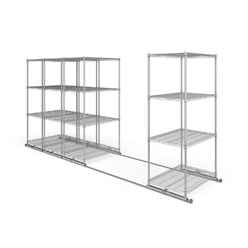 View a large image of the OFM X5L4-3624-SLVR X5 Lite Sliding Storage System Four 4-Shelf Units 36x24 here.
