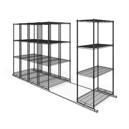 View a large image of the OFM X5L5-3618-BLK X5 Lite Sliding Storage System Five 4-Shelf Units 36x18 here.