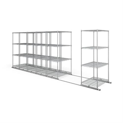 View a larger image of the OFM X5 Lite Sliding Storage System with Tracks (Six 4-Shelf Units) (36x24) X5L6-3624-SLVR.