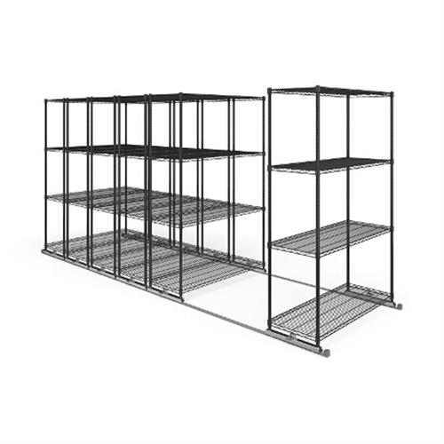 View a larger image of the OFM X5 Lite Sliding Storage System with Tracks (Six 4-Shelf Units) (48x18) X5L6-4818-BLK.
